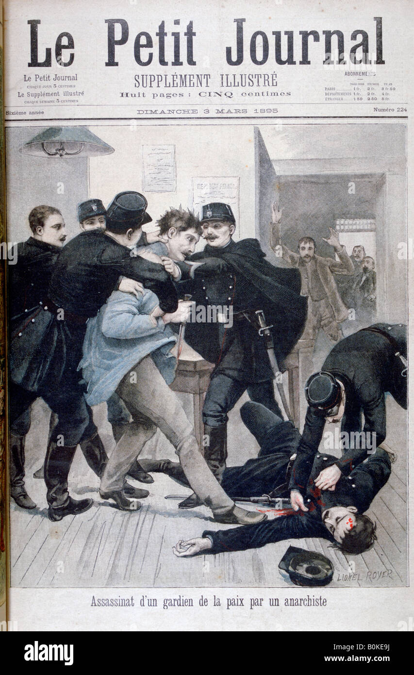 Assassination of a Policeman by an Anarchist, 1895. Artist: Lionel Noel Royer - Stock Image