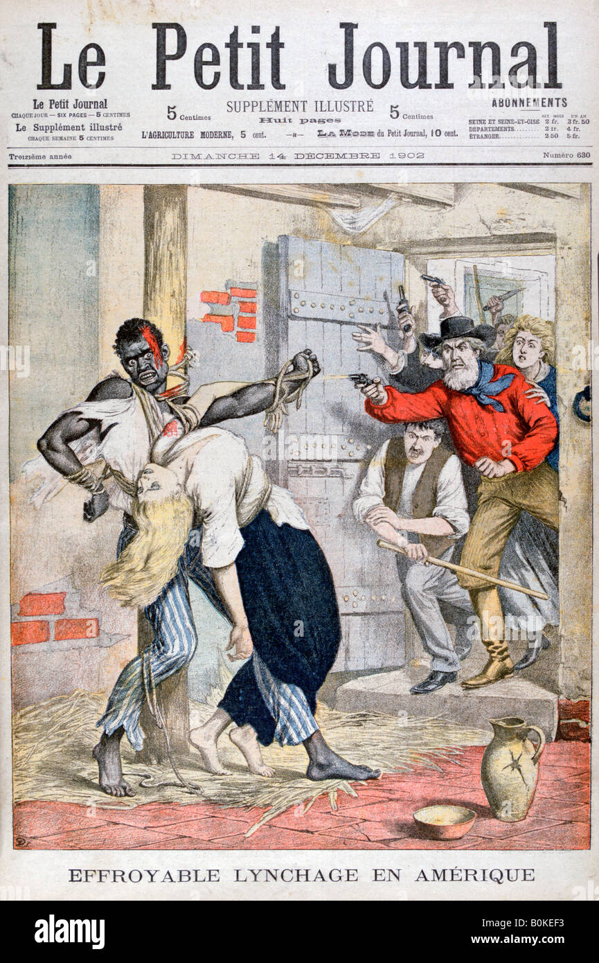 The Lynching in a prison of a black man and the assassination of a white woman tied to him, 1902. Artist: Unknown - Stock Image