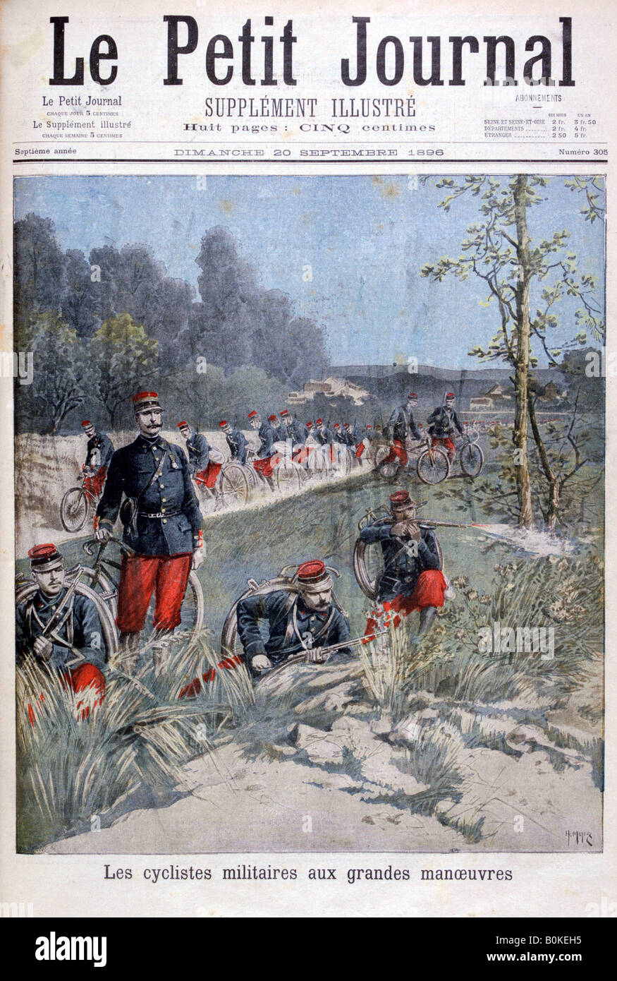 French bicycle corp on military maneuvers, 1896. Artist: Henri Meyer Stock Photo