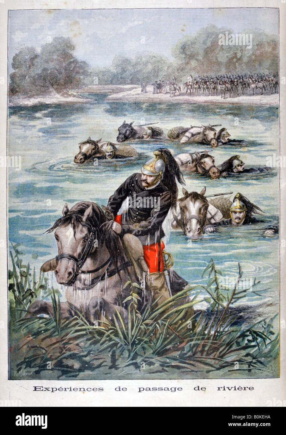French cavalry fording a river, 1896. Artist: Frederic Lix - Stock Image
