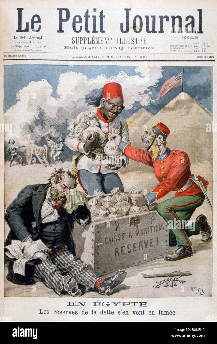 'In Egypt: The Reserves of the Debt Going up in Smoke', 1896. Artist: Henri Meyer - Stock Image