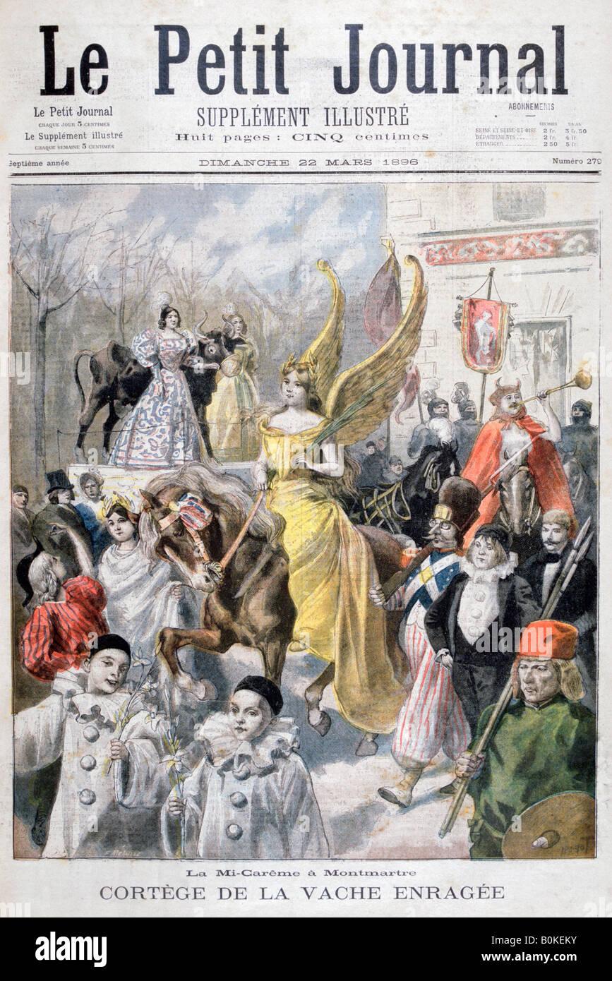 Mid-Lent celebrations, Paris, 1896. Artist: F Meaulle - Stock Image