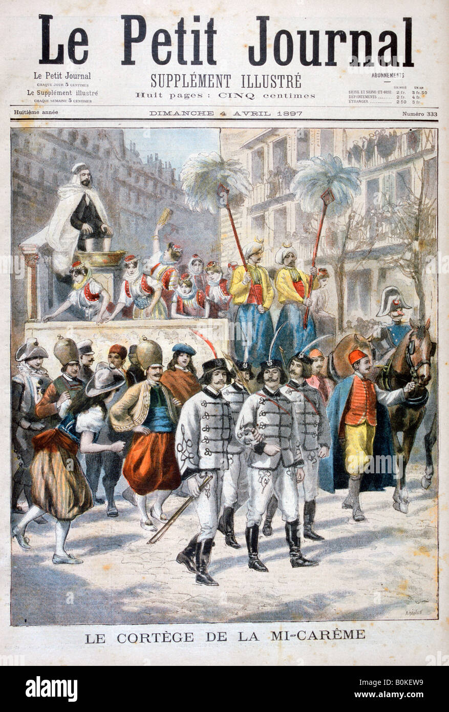 The procession of the mid-Lent festival, 1897. Artist: F Meaulle - Stock Image