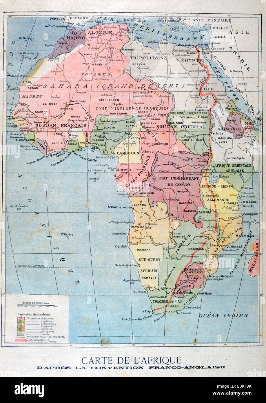 French Africa Map.A Map Of Africa After The The Anglo French Convention 1899 Artist
