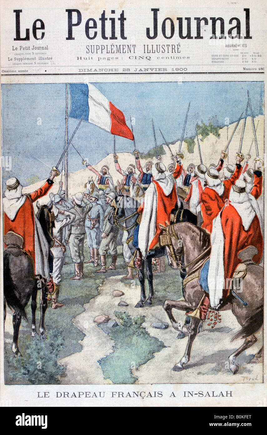 The French flag in In Salah, Algeria, 1900. Artist: Unknown - Stock Image