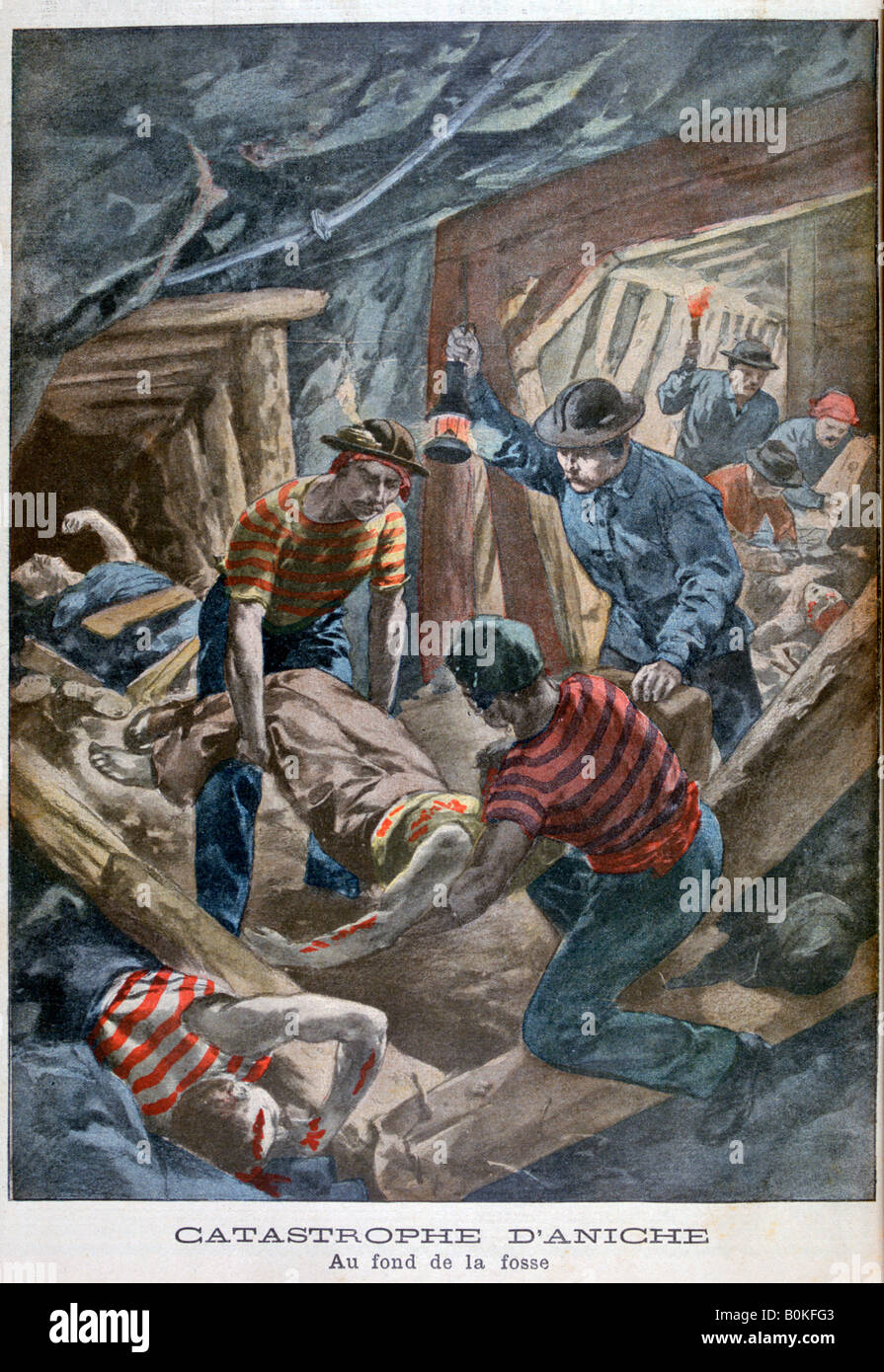 Mine collapse, Aniche, France, 1900. Artist: Unknown - Stock Image
