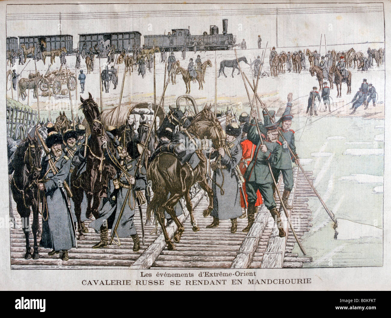 Russian cavalry heading into Mandchourie, China, 1900. Artist: Eugene Damblans - Stock Image