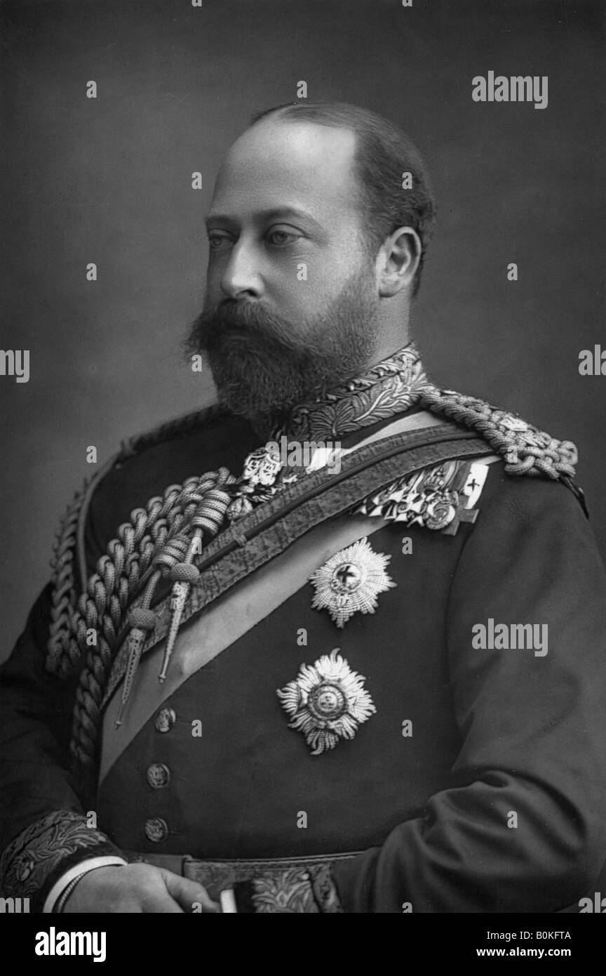 Prince Edward of Wales, the future King Edward VII of Great Britain (1841-1910), 1890. Artist: W & D Downey - Stock Image