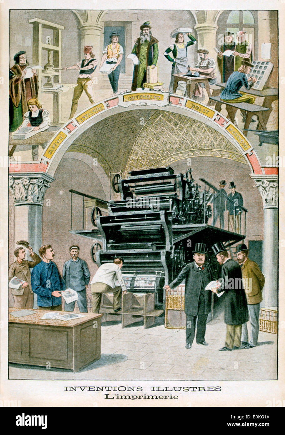 Inventions, The print works, 1901. Artist: Unknown - Stock Image