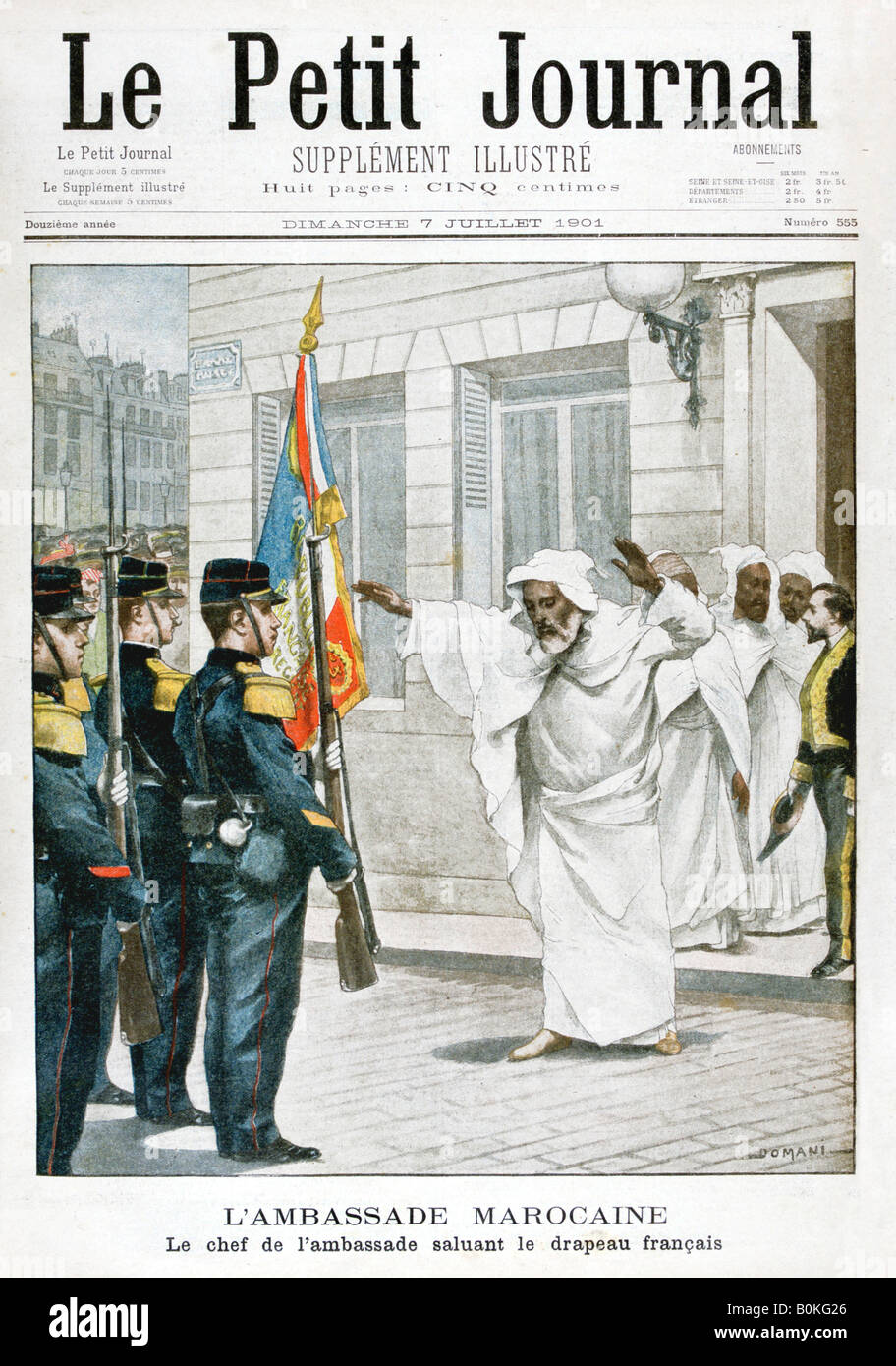 Moroccan Embassy, The chief ambassador saluting the French flag, 1901. Artist: Unknown - Stock Image