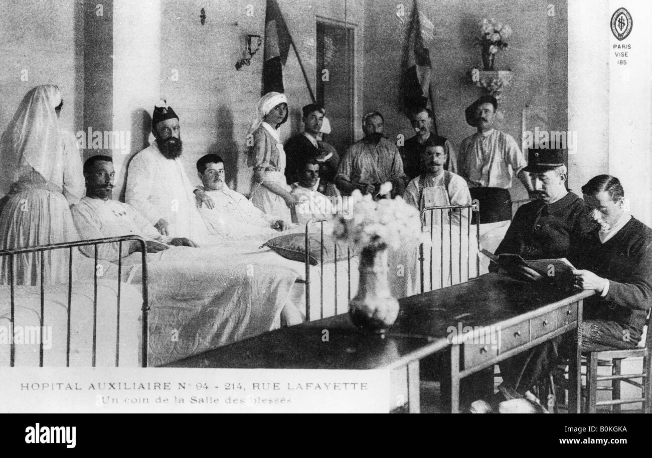 French wounded, auxiliary hospital, Paris, France, World War I, 1914-1918. Artist: Unknown Stock Photo