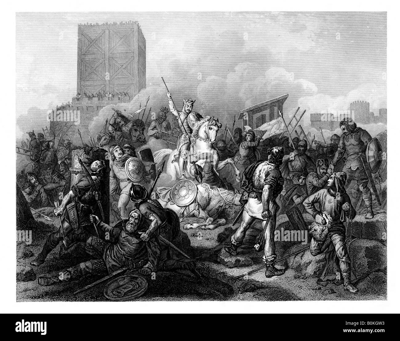 Paris besieged by the Normans , 885 AD, (1875).  Artist: T Sherratt - Stock Image