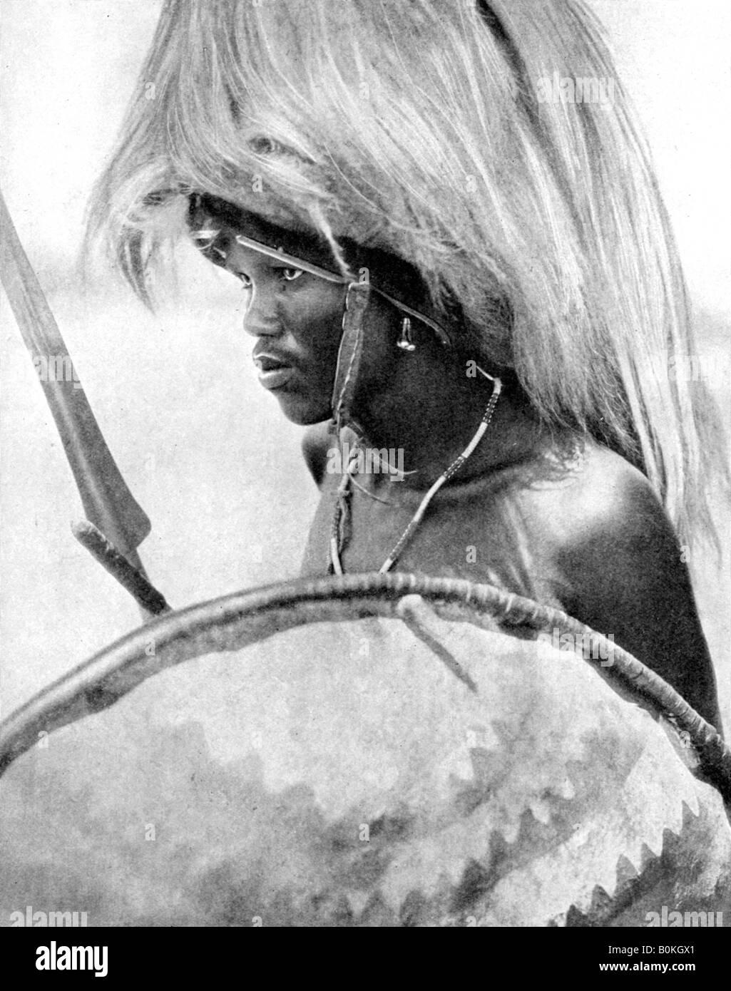 A Masai warrior, Africa, 1936. Artist: Wide World Photos - Stock Image