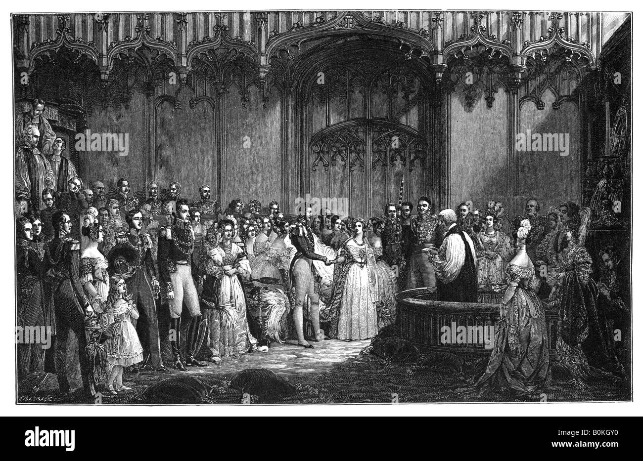 The Marriage of Queen Victoria and Prince Albert, 1840, (1900). Artist: Unknown - Stock Image