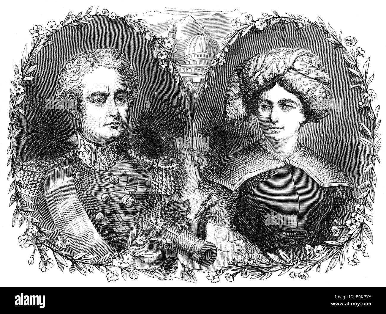 Sir Robert and Lady Sale, 19th century.  Artist: Unknown - Stock Image