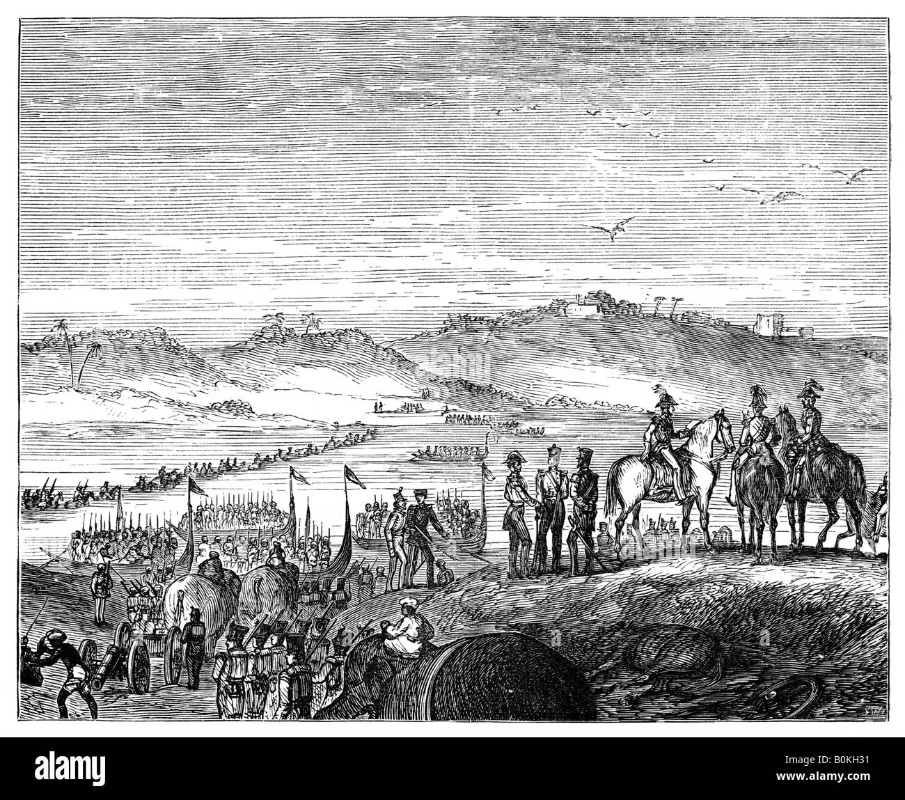 The British Army crossing the Sutlej River, India, 19th century, (1900). Artist: Unknown - Stock Image