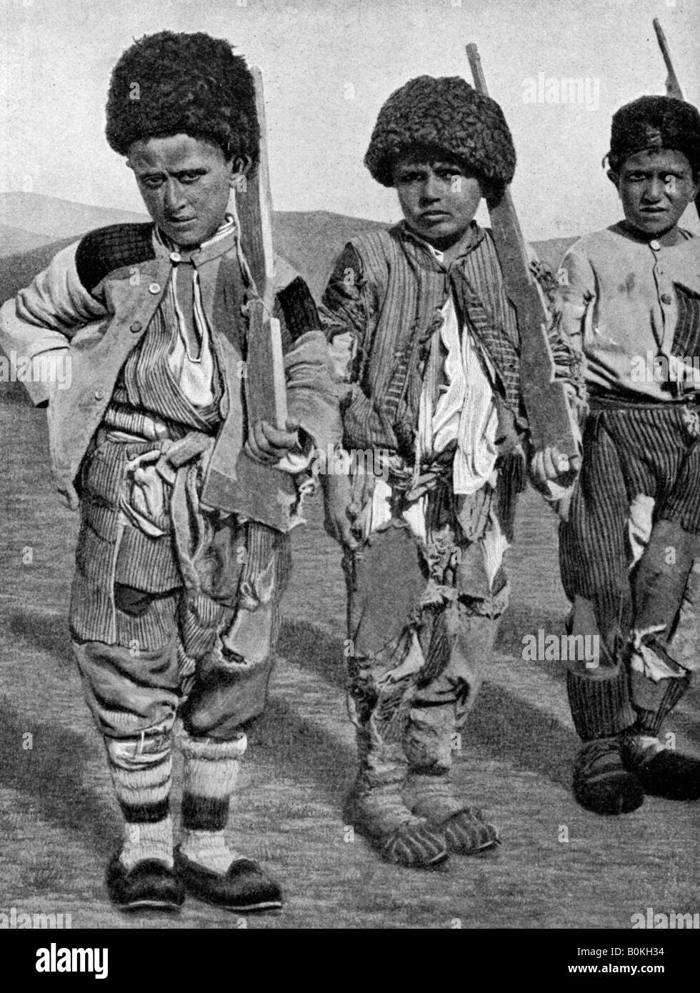 Boys from Artemid, Armenia, 1922.Artist: Maynard Owen Williams - Stock Image