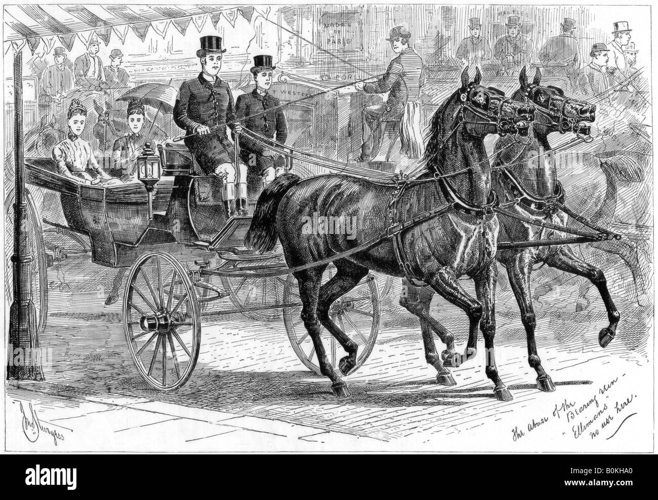 Coach and horses, 1889. Artist: Unknown - Stock Image