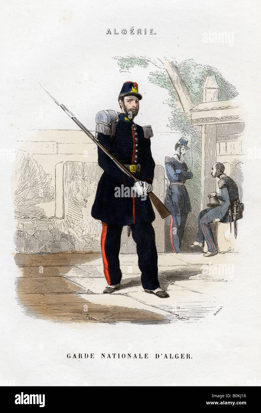 Algerian National Guard; French Army in Algeria.  Artist: Dumont - Stock Image