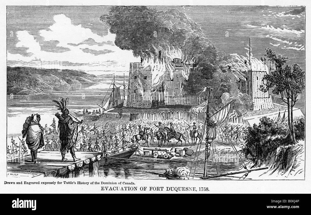 'Evacuation of Fort Duquesne, 1758', (1877). Artist: Unknown - Stock Image