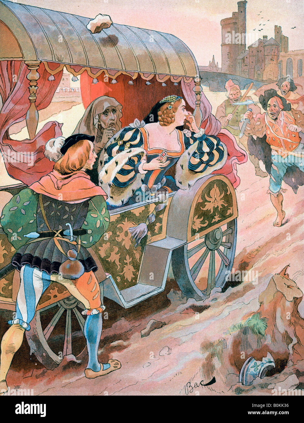 Attack on a carriage, Quai de Nesles, 16th century, (late 19th-early 20th century).  Artist: Ferdinand Sigismund - Stock Image