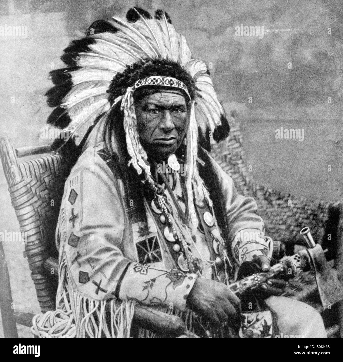 Kinnewankan, chief of the Sioux, 1922. - Stock Image