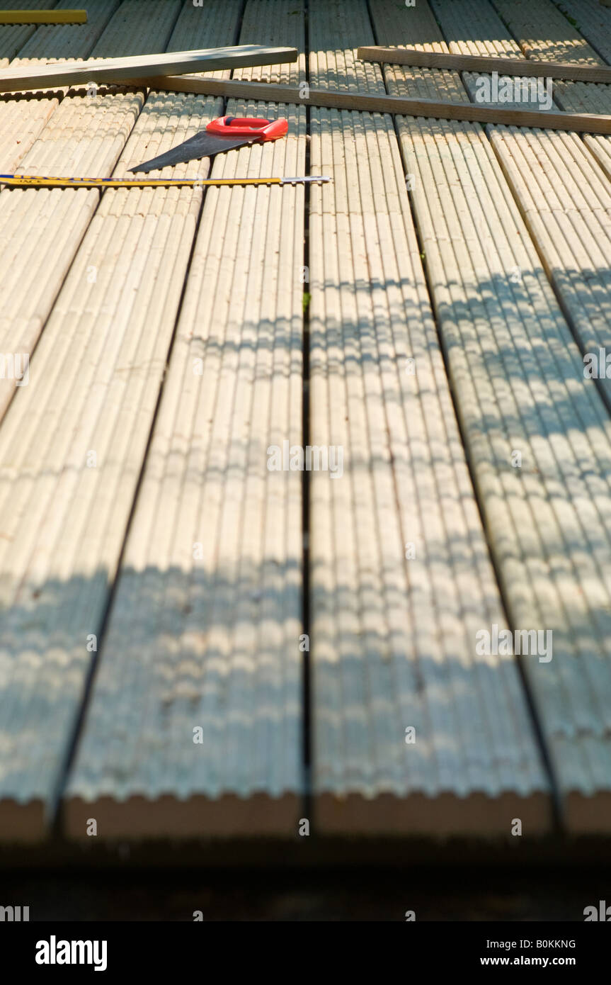 A decking construction, portrait photograph. View from the rear behind. Close up - Stock Image