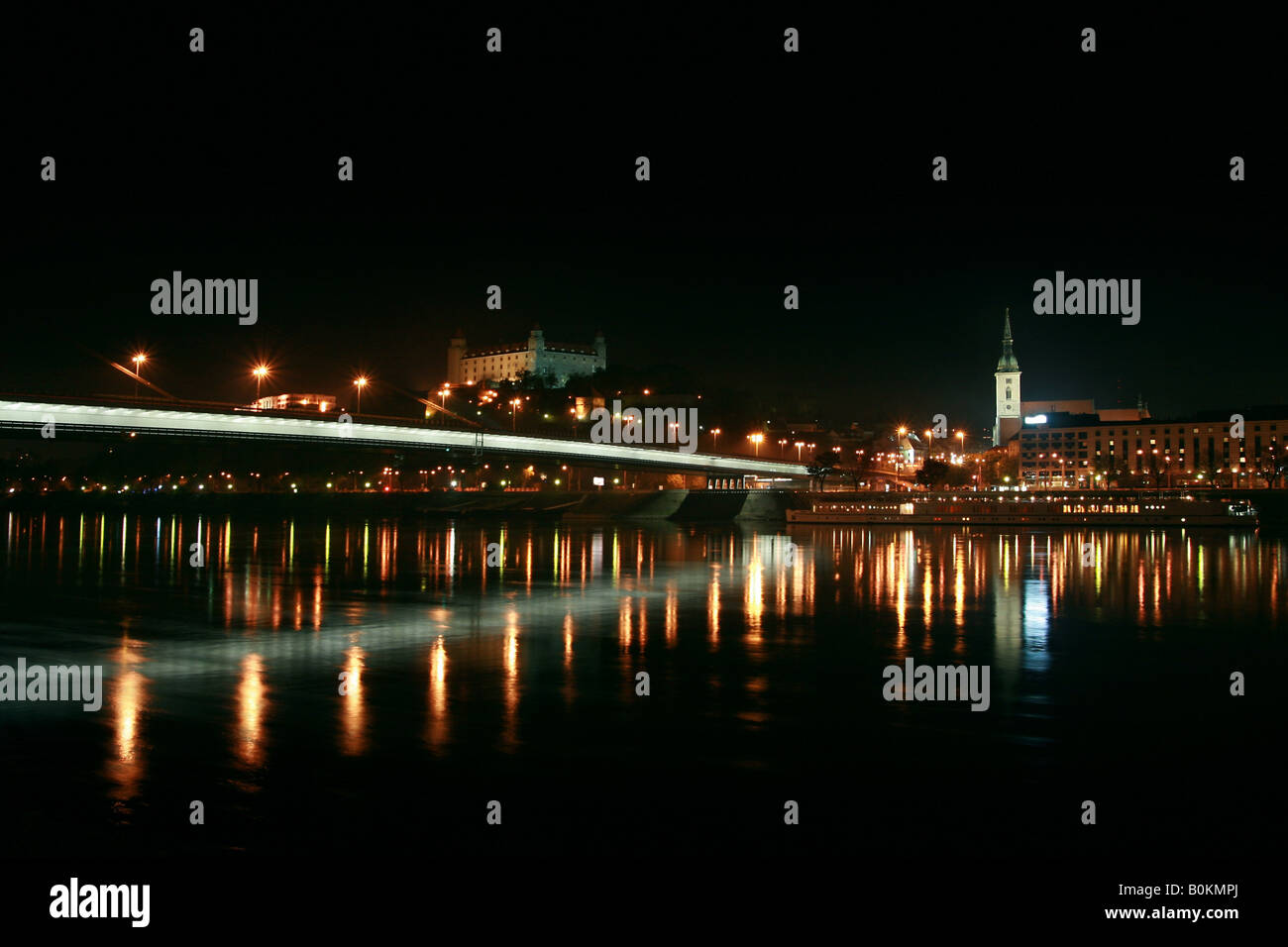 Bratislava at night, view from Petrzalka district - Stock Image