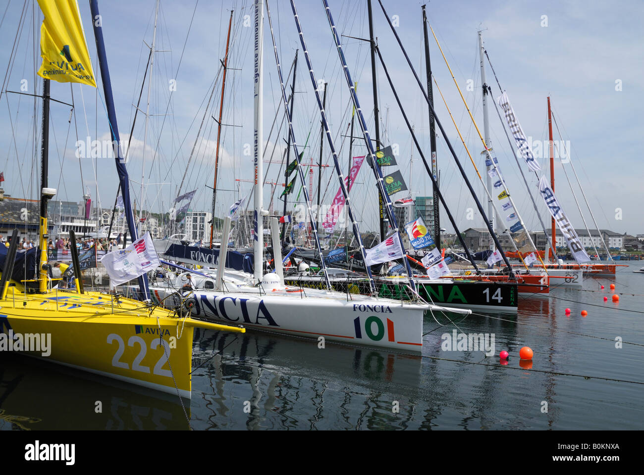 Racing Yachts moored at Sutton Harbour, Plymouth, UK, at the start of the 2008 Transat race Stock Photo