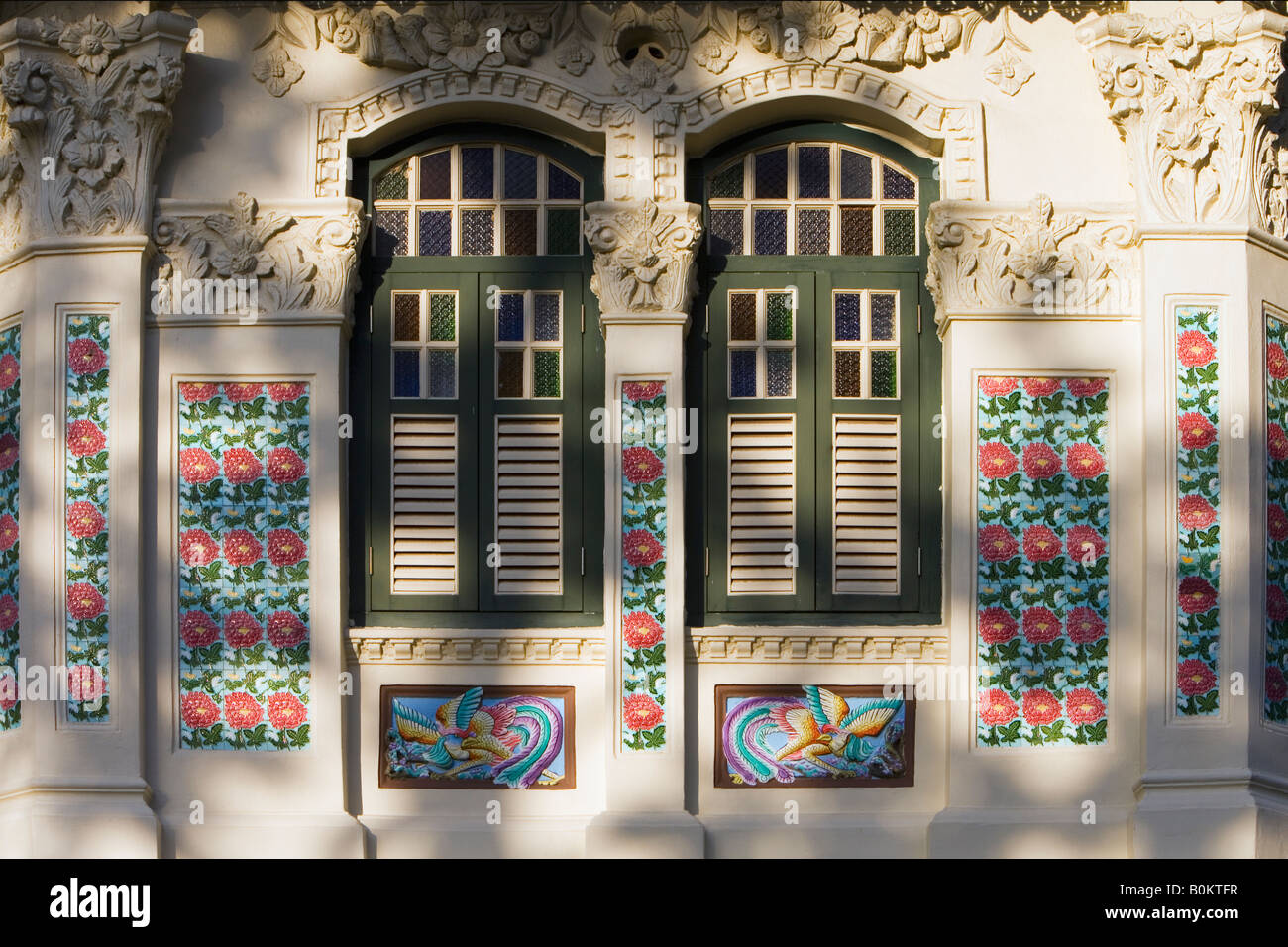 Details on the Front of Traditional Shop House, Singapore - Stock Image
