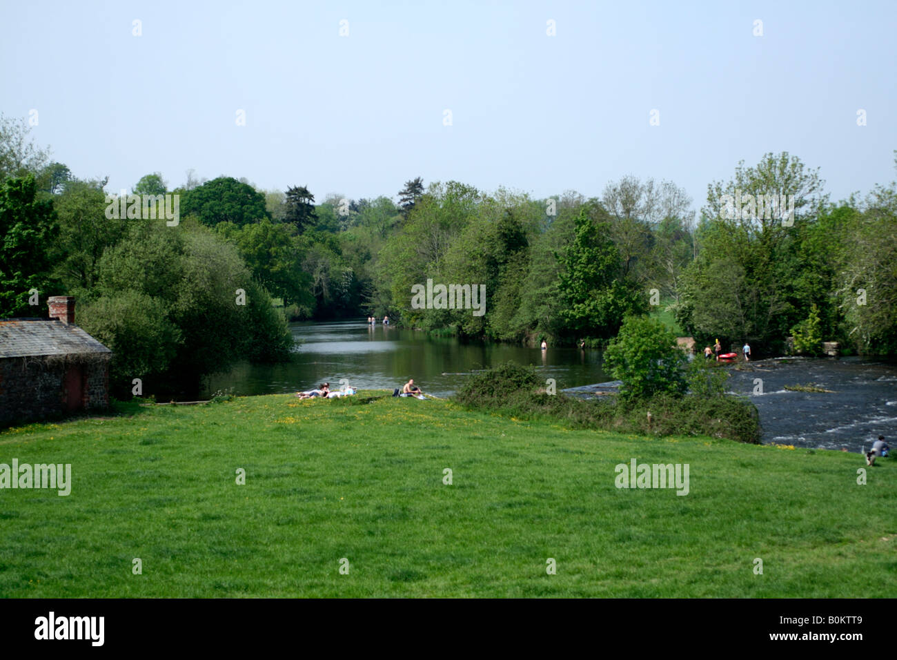 THE RIVER EXE AT THE HEATHCOAT FACTORY WEIR TIVERTON DEVON ON A HOT MAY DAY - Stock Image