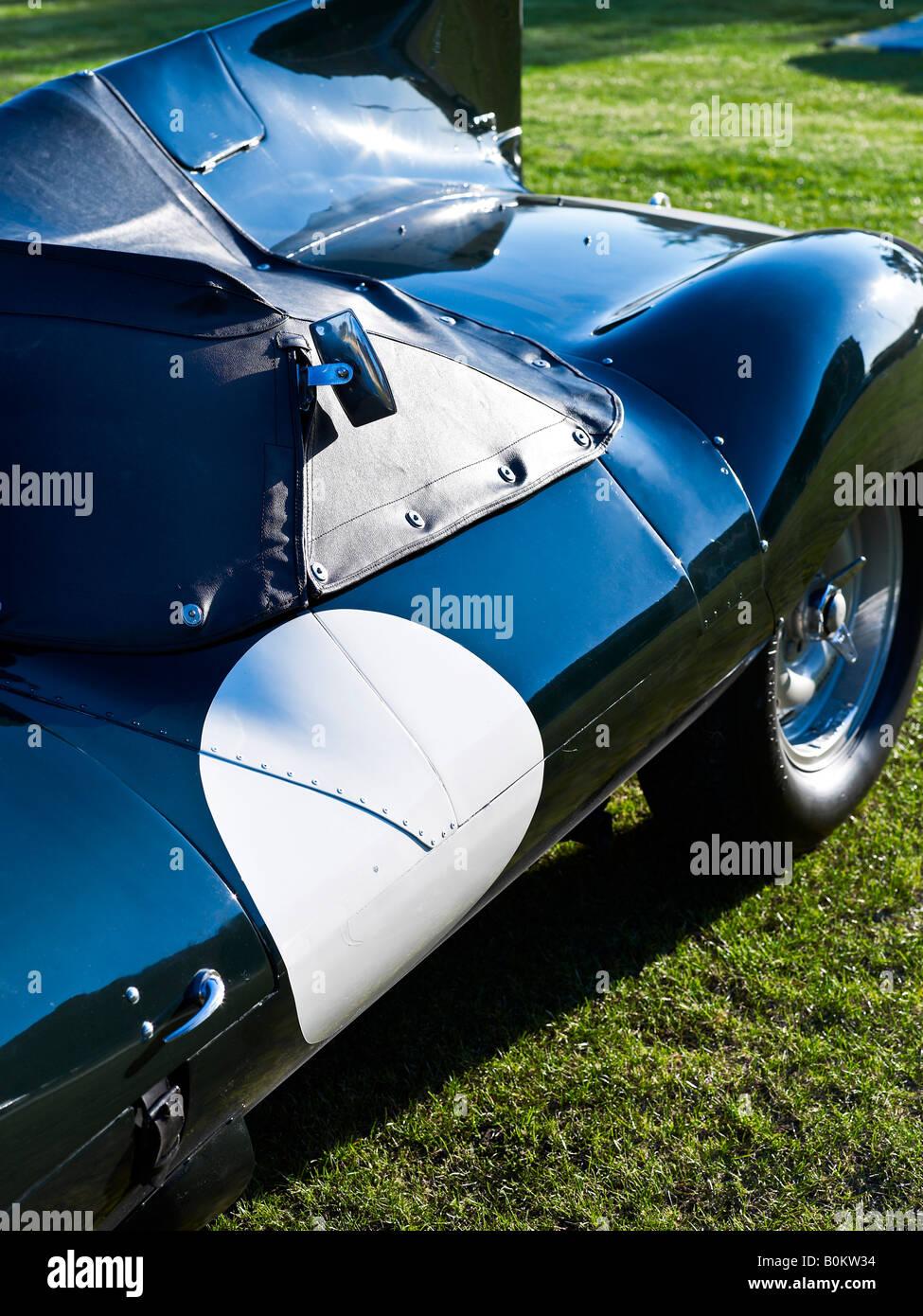classic jaguar d type soft top convertible drophead formula one f1 racing car auto automobile - Stock Image
