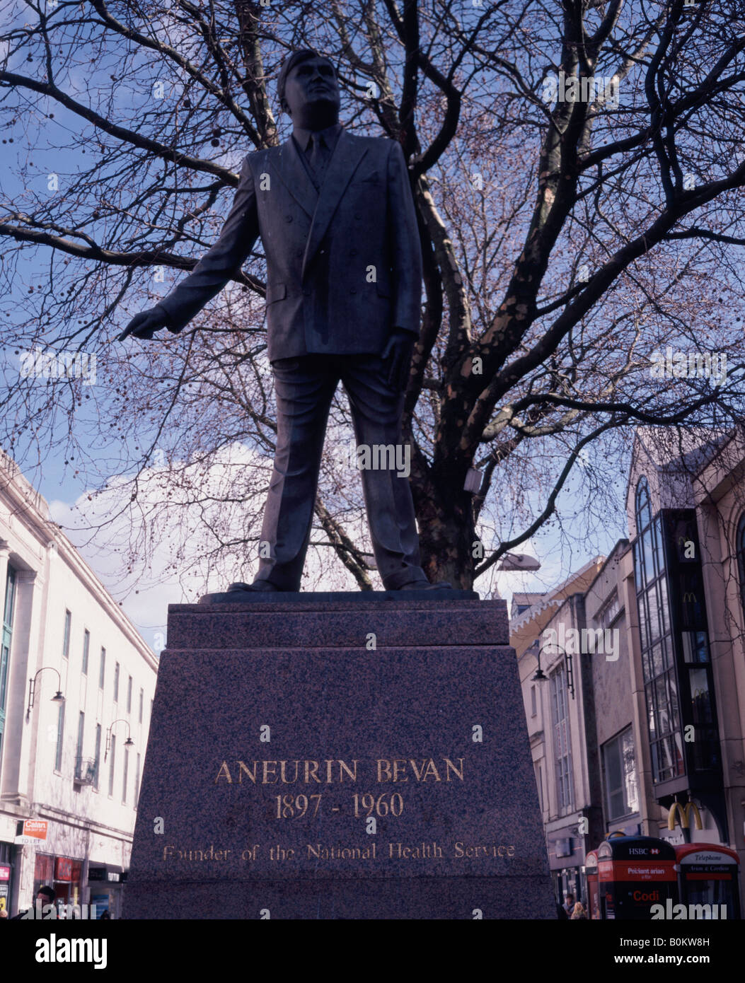 Statue of Aneurin or Nye Bevan founder of the UK National Health Service - NHS - Cardiff town centre Wales Stock Photo
