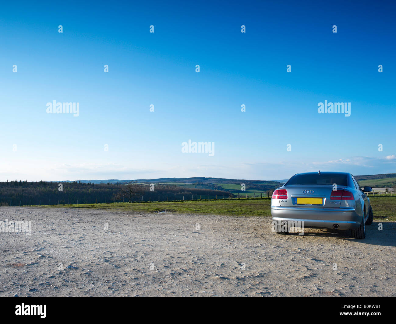 silver 2008 audi a8 motor car auto automobile exec executive aluminium aluminum power control vorsprung durch technic - Stock Image