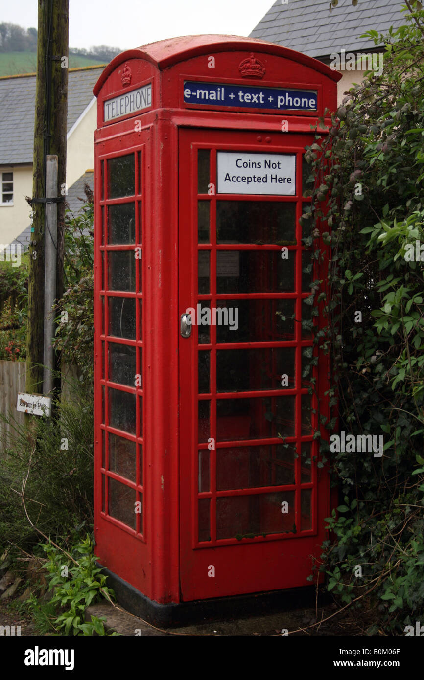English Red Public Telephone Box, No Coins Accepted - Stock Image