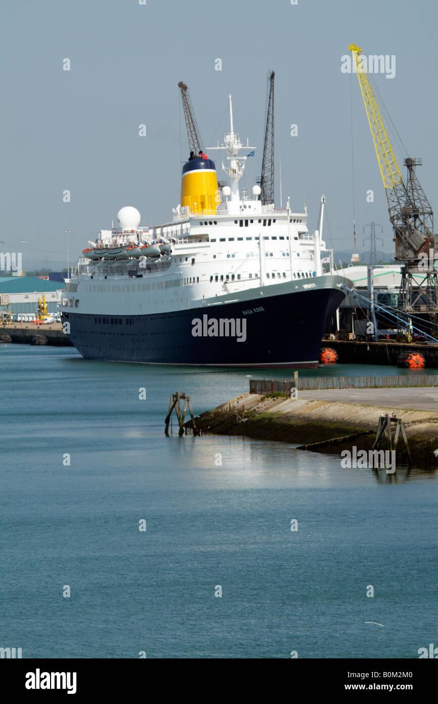 Saga Rose cruise ship berthed Port of Southampton southern England UK - Stock Image