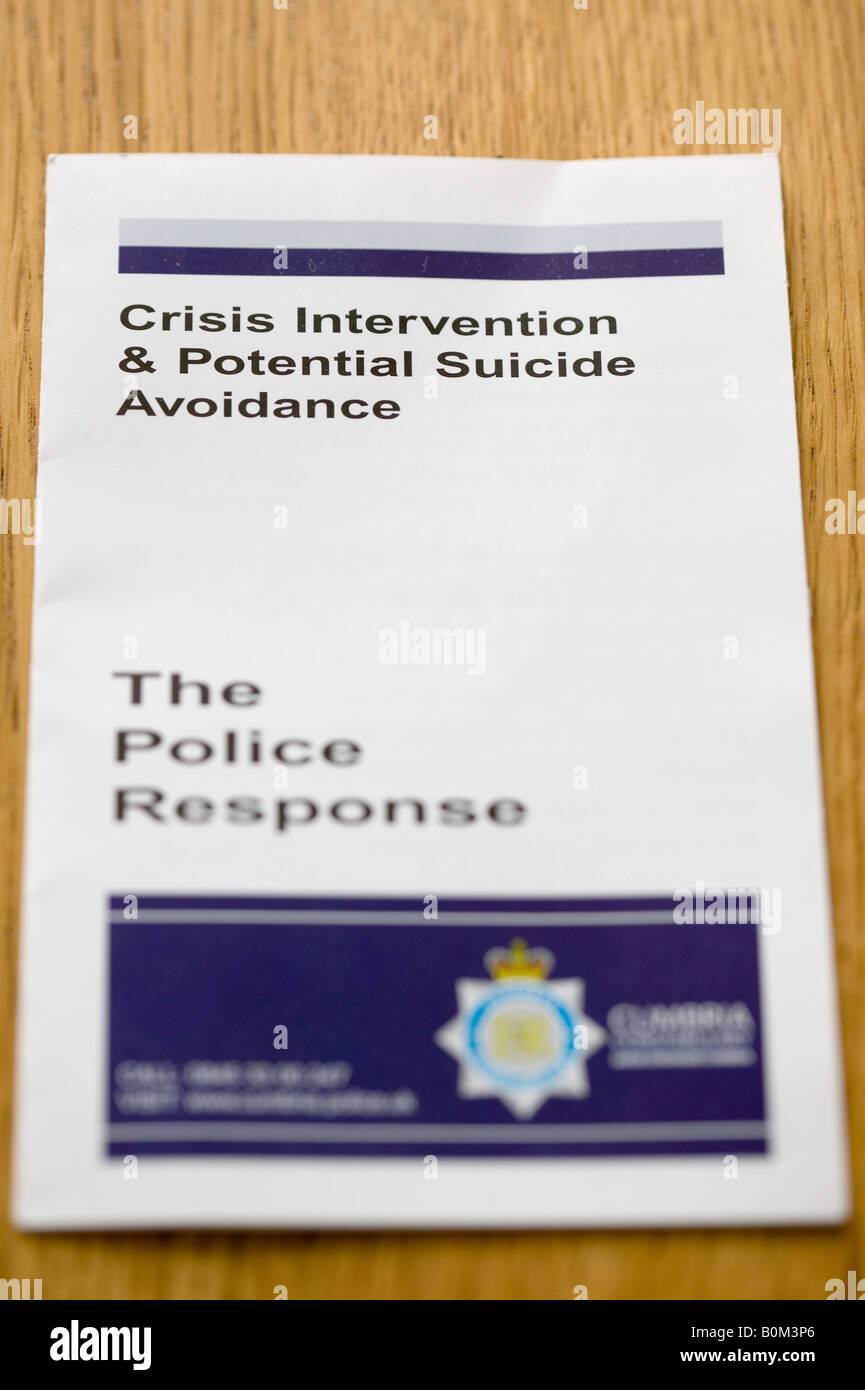 A leaflet issued to Cumbria Police force on how to react to potential suicidal people - Stock Image