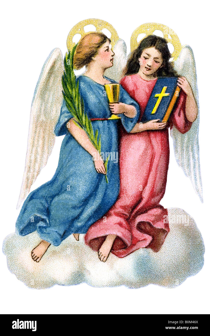 two angels blue and pink with goblet bible standing on cloud 19th century Germany - Stock Image