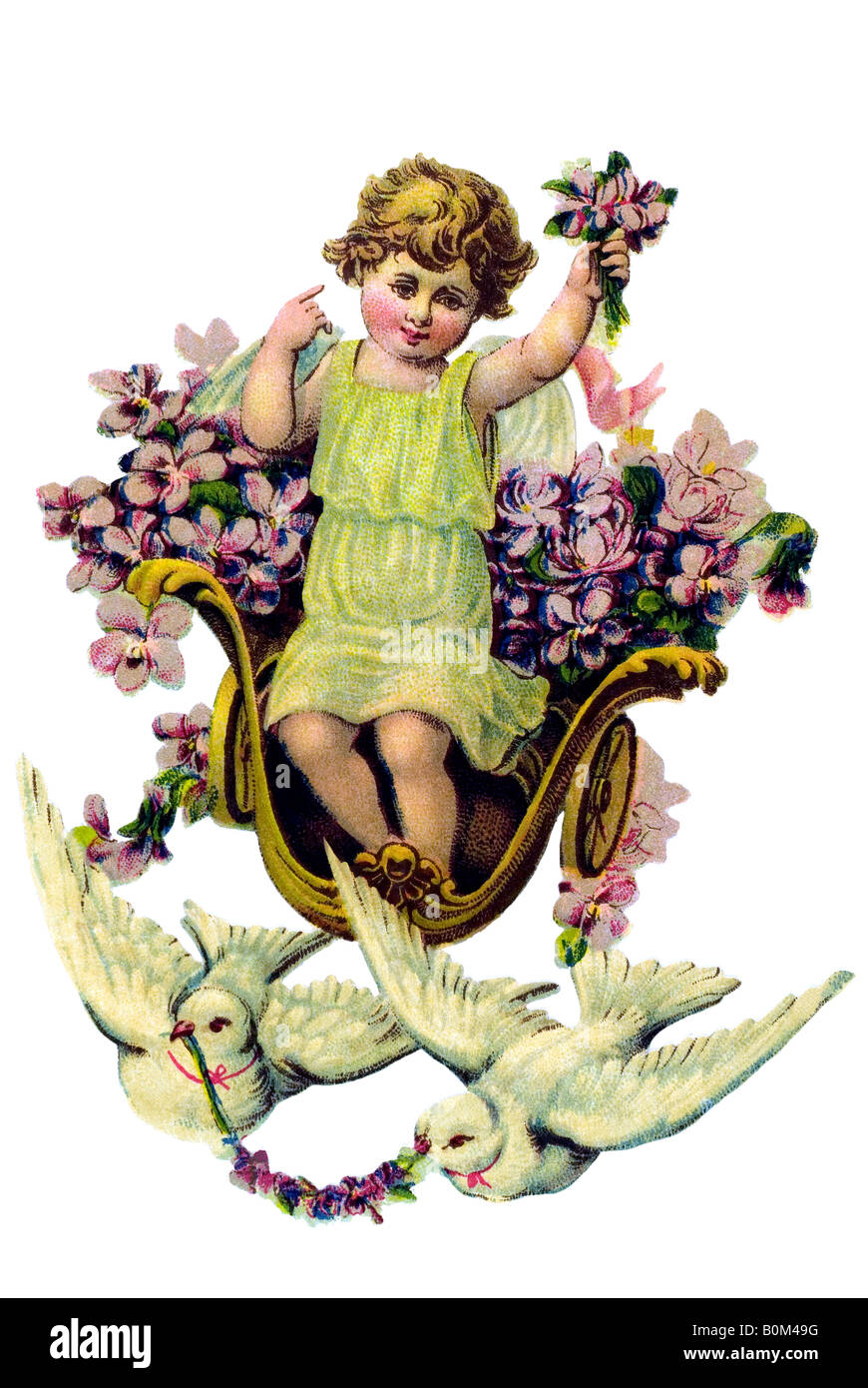 children angel violett carriage two doves 19th century Germany - Stock Image
