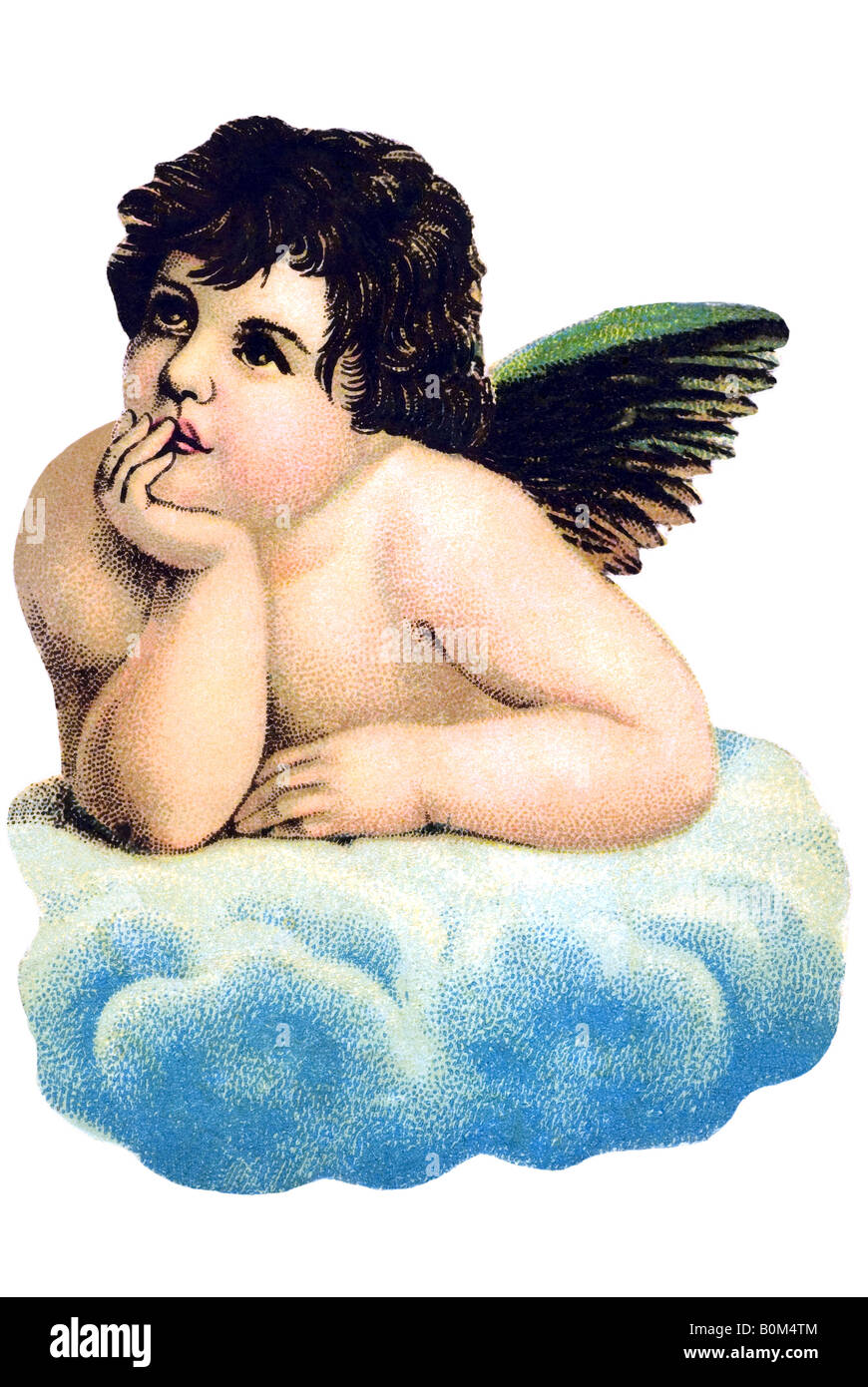 classic children angel on cloud Michelangelo Buonarroti like motive 19th century Germany - Stock Image