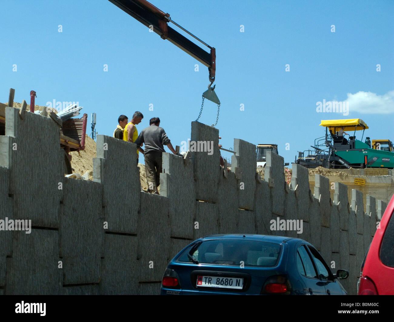 Flyover Tirana construction AlbaniaFlyover Tirana construction Albania to ease traffic Tirana Durres Port Airport - Stock Image