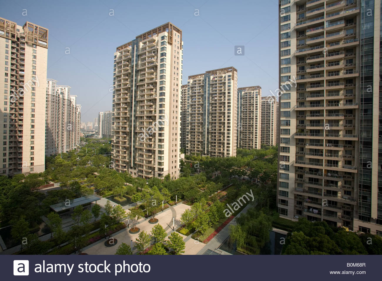 Stock Photo High Rise Apartment Buildings In Pudong Area Of Shanghai China 17654359 on New York City Luxury Apartments
