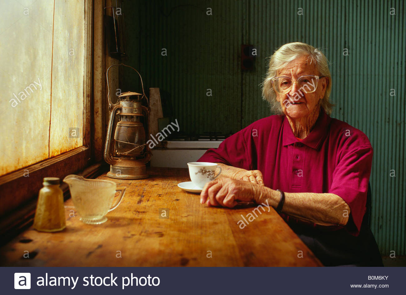 Elderly woman having tea, Leonoro, Western Australia, Australia - Stock Image