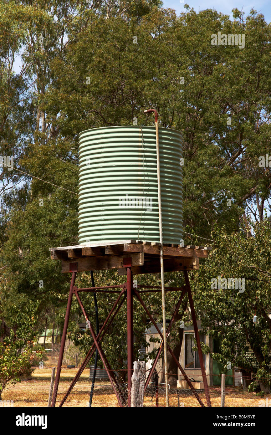 A water storage tank on a stand in country Victoria