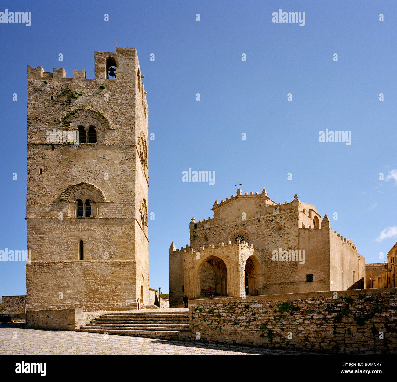 The Royal cathedral and King Frederick II Campanile bell tower Erice Sicily Italy EU - Stock Image