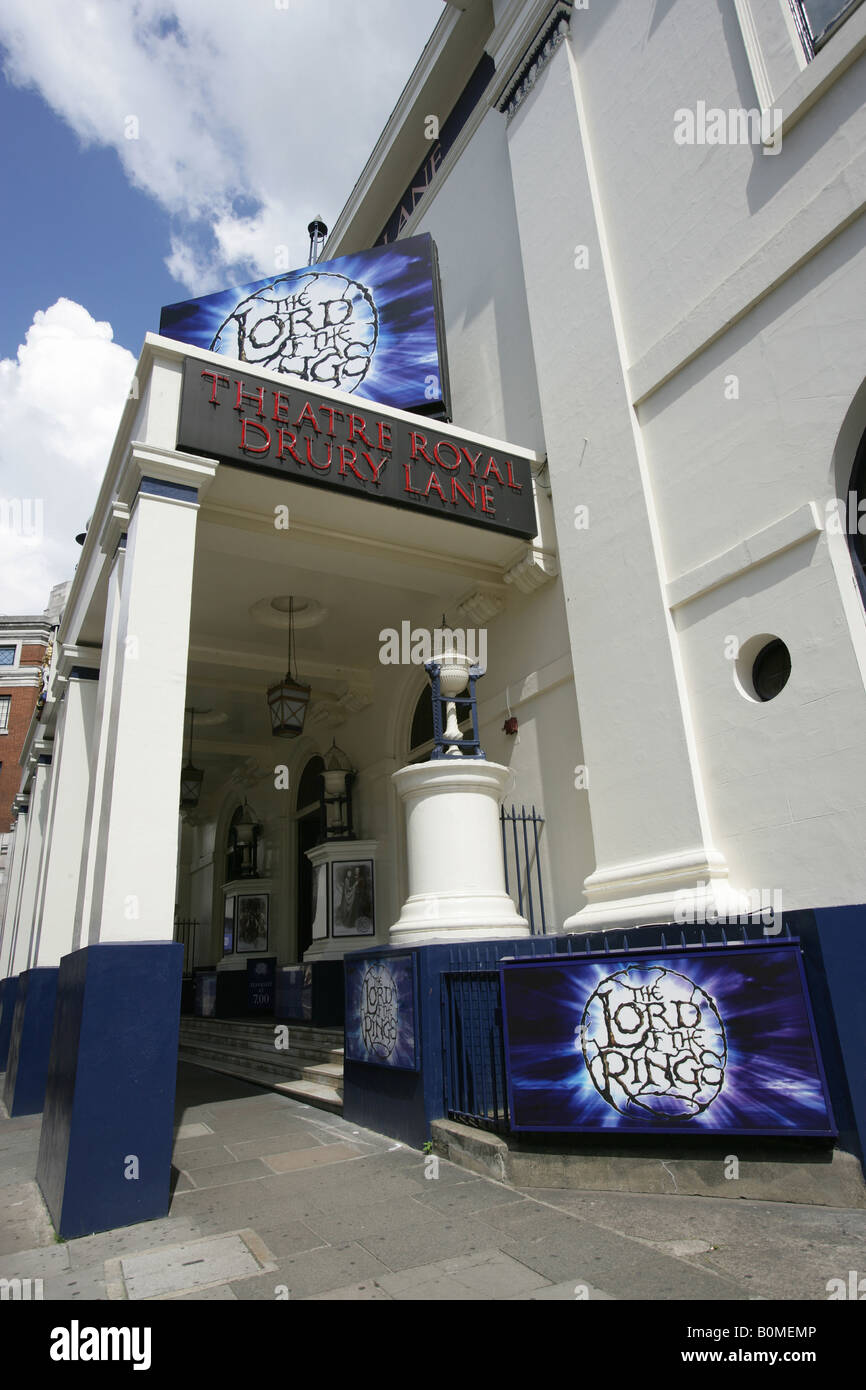 City of London, England. Entrance to the West End Theatre Royal at Covent Garden's Drury Lane, showing The Lord - Stock Image