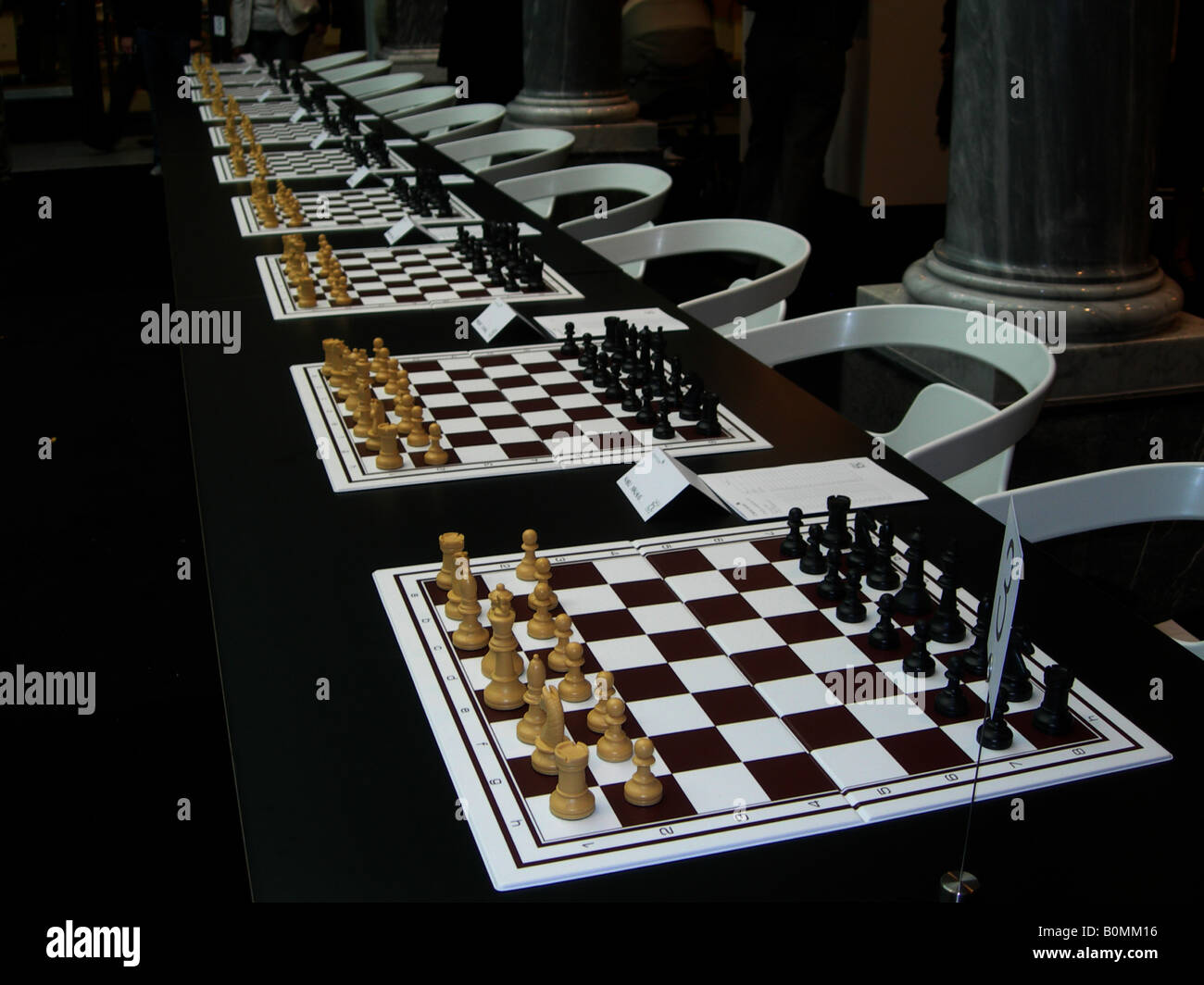 readiness ready chess game many 'chessboards' - Stock Image