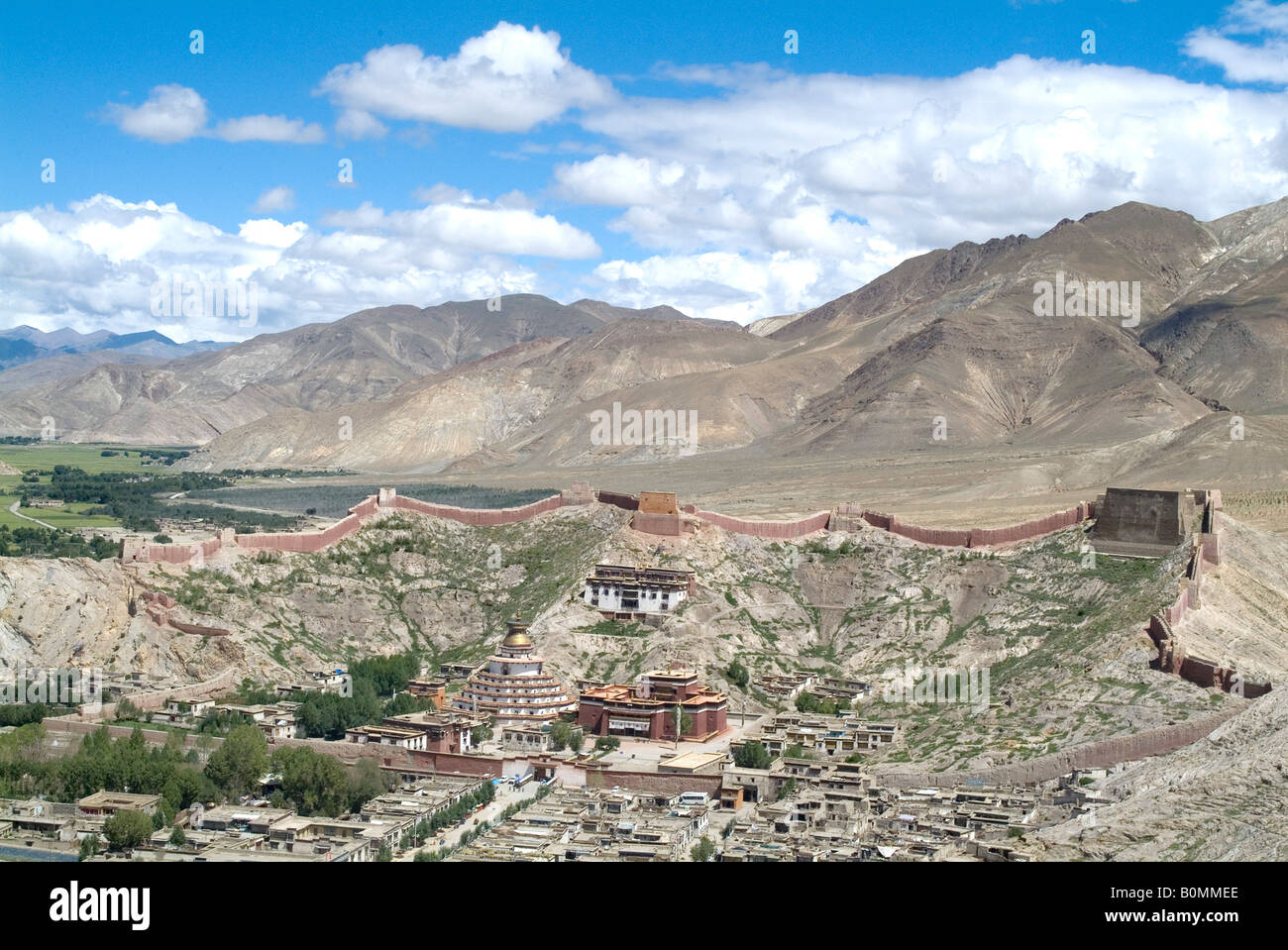 View from Fort overlooking Gyantse, including Kumbum, Tibet, China. - Stock Image