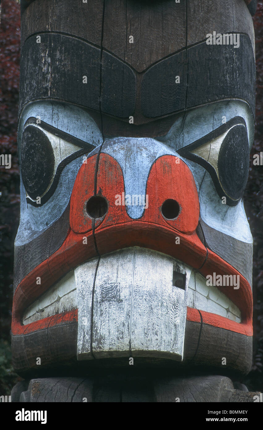 Carving on an Indian Totem Pole at the Anthropological Museum in Vanvouver, British Columbia, Canada - Stock Image