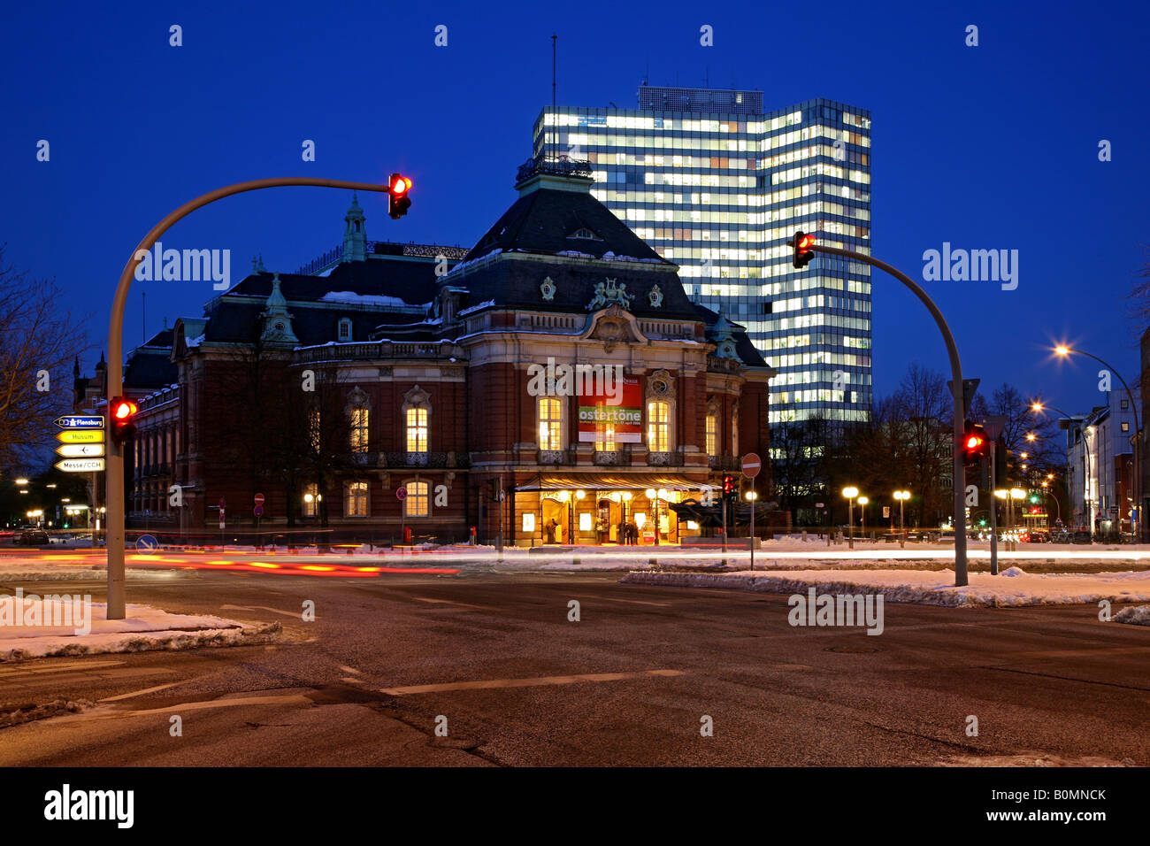 Concert hall Laeiszhalle and the (former) Unilever highrise building in Hamburg, Germany - Stock Image